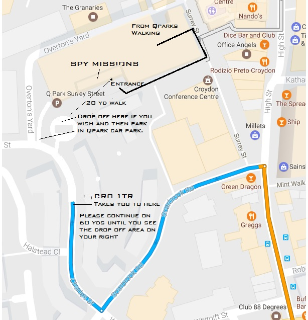 Parking map for the ultimate kids birthday party in Croydon